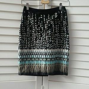 ANN TAYLOR PETITE Black Printed Pencil Skirt